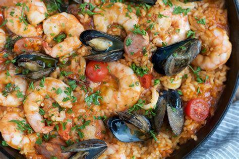 easy seafood recipes seafood paella recipe dishmaps