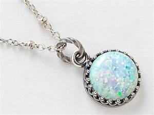 Silver Opal Necklace White Opal Pendant Australian Opal ...