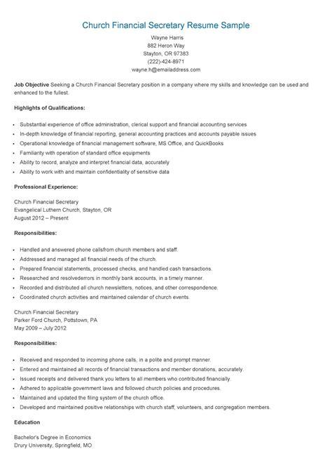 resume samples church financial secretary resume sample