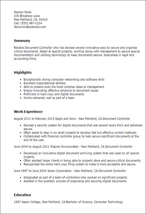 Controller Resume Template Word by Professional Document Controller Templates To Showcase