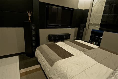 bedroom surround sound 7 awesome bedroom home theater setups hooked up installs 10696 | pic2a