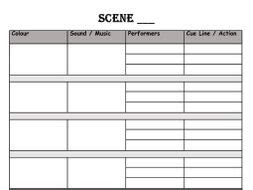 lighting cue sheet template by et 5063 teaching resources