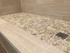 sliced java pebble tile shower floor https pebbletileshop com gallery sliced java