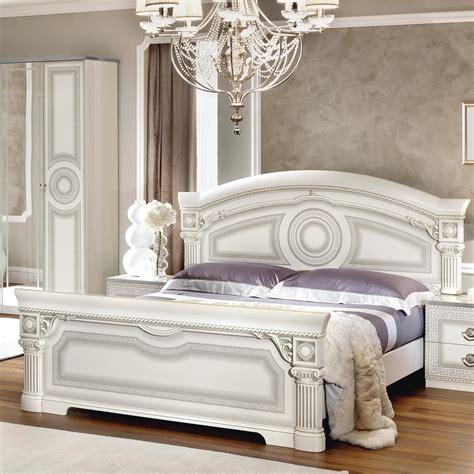 Italian Medusa White High Gloss Silver Bedroom Set 6dr