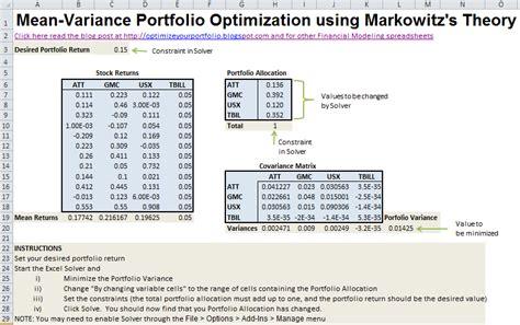 variance portfolio optimization  excel
