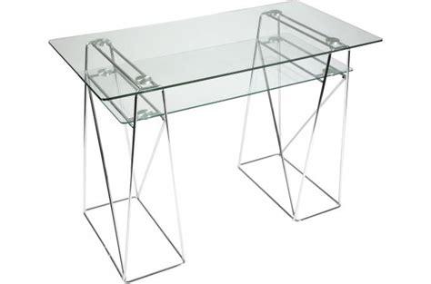 bureau en verre pas cher table d 39 ordinateur transparente en verre carmelo bureau