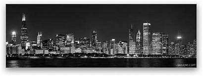 Skyline Panoramic Chicago Metal Night Prints Fine