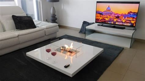 Coffee Table Fireplace With Remote Ethanol Burner Insert