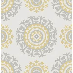 NuWallpaper 30.75 sq. ft. Grey and Yellow Suzani Peel and ...