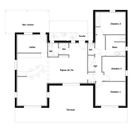 plan de maison de plain pied avec 3 chambres plan maison plain pied 3 chambres best plan maison plain