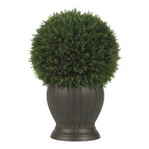 1 2 quot cedar ball shaped artificial topiary tree w pot indoor outdoor