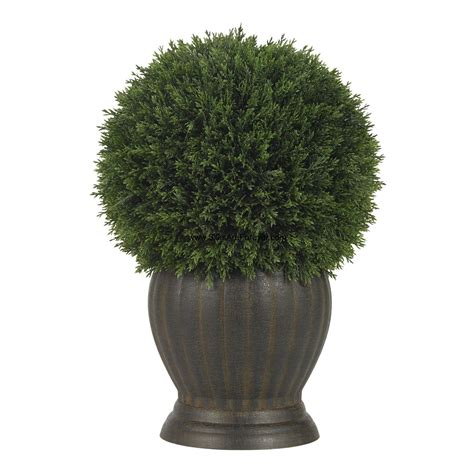 "1'2"" Cedar Ball-Shaped Artificial Topiary Tree w/Pot"