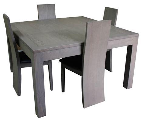 table repas carree  allonge chene grise corian blanc