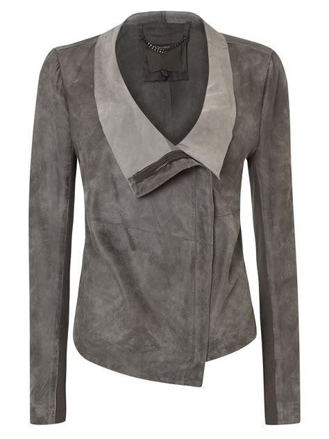 Draped Coats - geneva grey suede drape jacket
