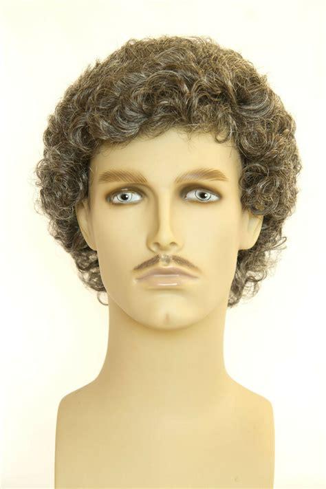 dark brown   grey grey curly men wig ebay