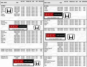 Honda Rim Chart