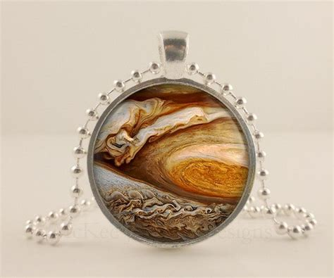 Jupiter, Planet, Space, Astronomy Glass And Metal Pendant