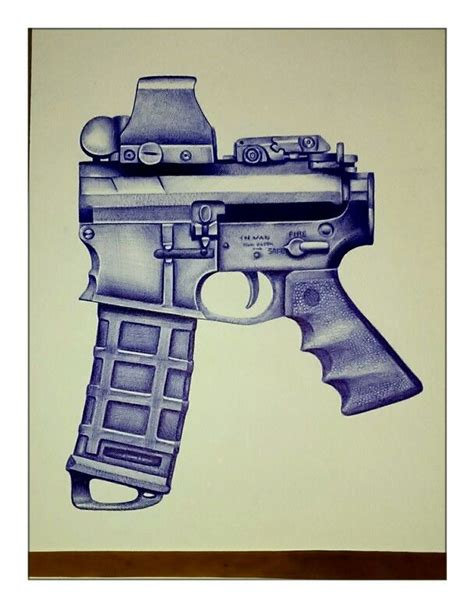 ar gun drawing    bic  firearm guns gun ammo