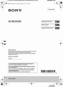 Sony Xavax5000 Av Receiver User Manual Xav Ax5000