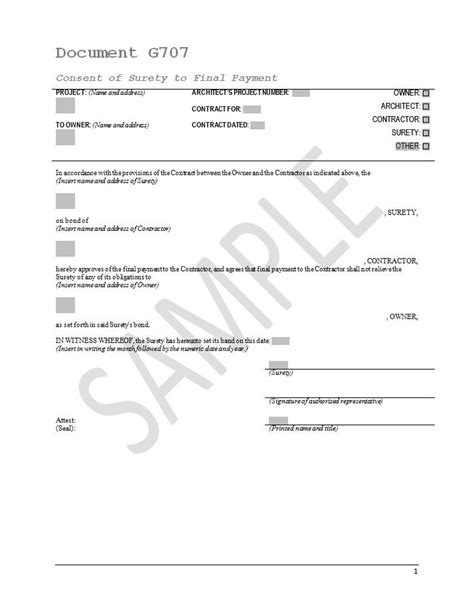 aia g707 form download g707 consent of surety to final payment and g707a consent