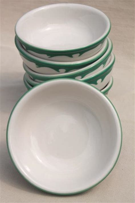deco airbrush stencil china restaurant ware bowls, vintage