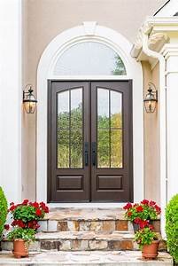 Modern, Styled, French, Double, Doors, With, An, Arched, Glass, Lite, Made, From, Solid, Composite, Wit
