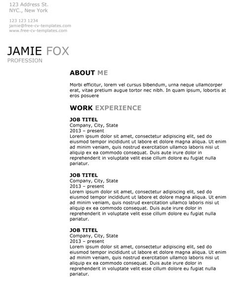 side  resume template  word