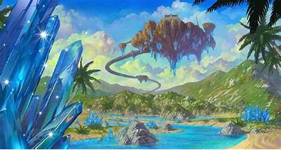 Floating Island Wallpapers Landscape Crystals Lineage Sky