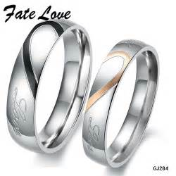 wedding rings sets his and hers aliexpress buy his and hers promise ring sets fashion korean stainless steel