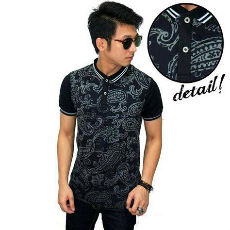 jual baju pria kaos batik pria keren hitam distro murah