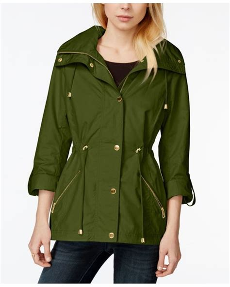 guess convertible tab sleeve hooded anorak jacket  green