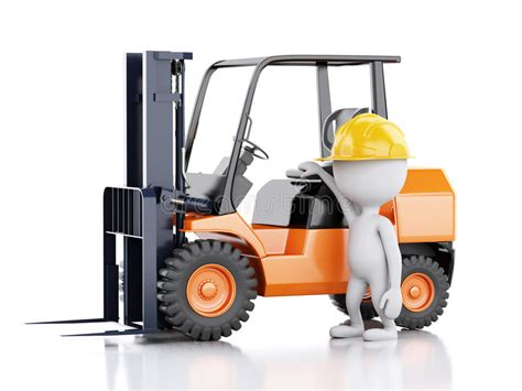 3d White People With A Forklift Truck Stock Illustration