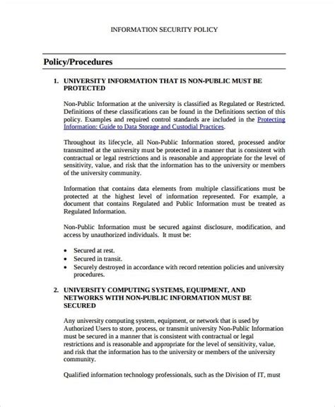 information security policy document template information security policy template sle 9 documents within portrait runnerswebsite