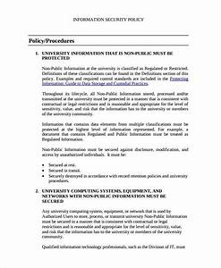 information security policy template sample 9 documents With information security policy document