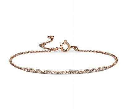 Bracelet Diamond Gold Rose Bar 14k Yellow
