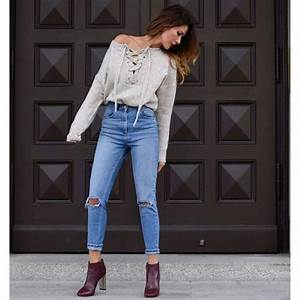Sweater tumblr nude sweater lace up jumper lace up jeans denim blue jeans ripped jeans ...
