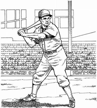 Coloring Baseball Pages Run Batting Players Adult