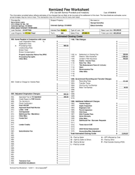 2011 2018 form encompass360 itemized fee worksheet fill online printable fillable blank