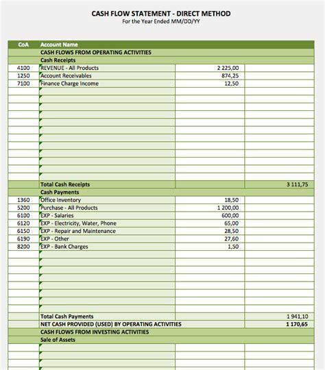cash flow statement exceltemplatenet