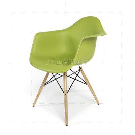 eames style dining daw arm chair green