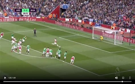 video aubameyang scores penalty arsenal lead  brighton