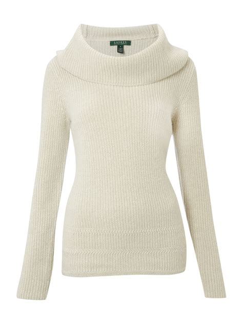 white cowl neck sweater by ralph cowl neck sweater in white lyst