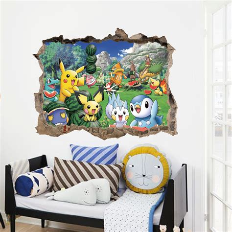 cartoon pikachu pokemon  wall stickers  kids rooms wall decals poster room decoration