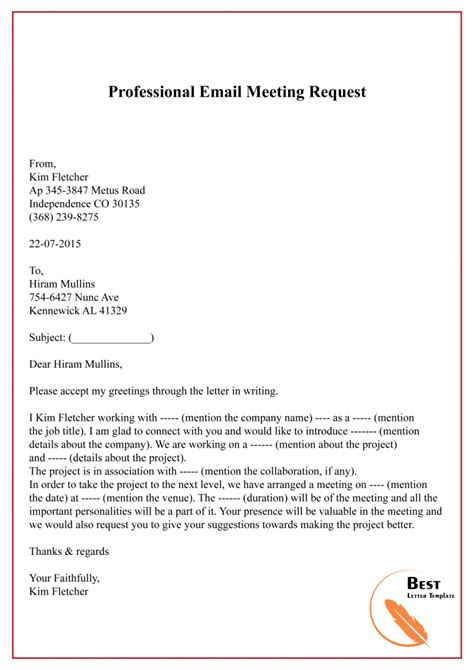 write  meeting request  email  letter