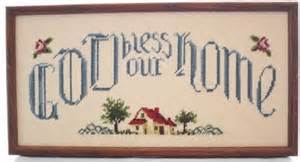 Completed framed cross stitch god bless our home wall