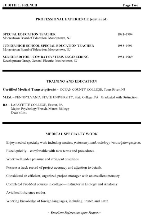 middle school resume sales lewesmr