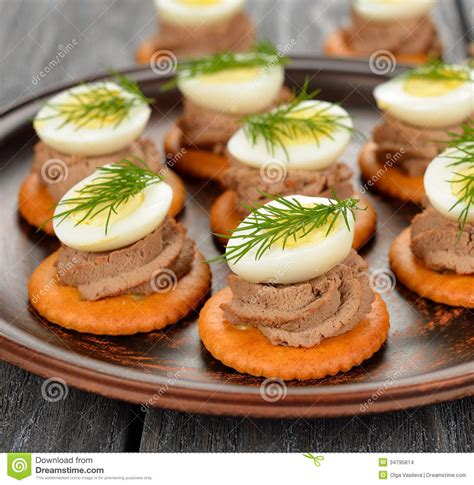 pate canapes canape with pate and egg stock images image 34795814