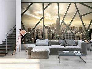 wand mit fototapete gestalten fur eine optische With balkon teppich mit tapete london paris new york