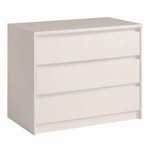Commode à Tiroirs : commode 3 tiroirs ontario blanc brillant ~ Teatrodelosmanantiales.com Idées de Décoration