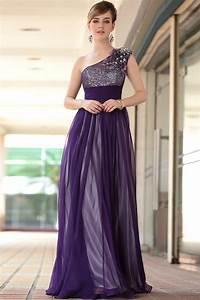 Chiffon Sequin Purple On Cream One Shoulder Prom Dresses ...